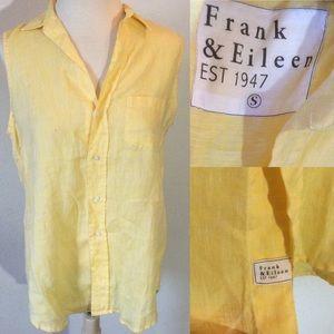 Frank & Eileen Yellow Linen Button Up Blouse
